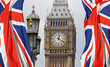 Big Ben in London and English flag - 85944210