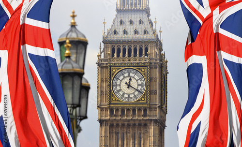 Foto op Canvas Londen Big Ben in London and English flag