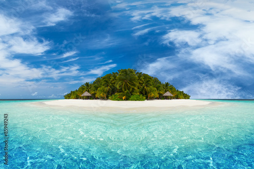 Poster, Tablou paradise tropical island with coco palms white sand and beach
