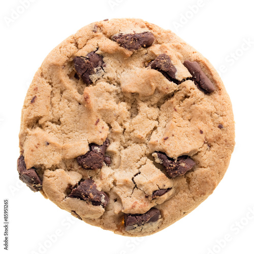 Poster Chocolate chip cookie isolated on white background.