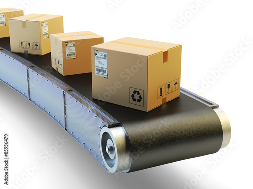 Packages delivery and mail service shipment concept, purchases transportation system, cardboard boxes on conveyor belt isolated on white background