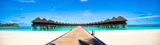 Water bungalows and wooden jetty on Maldives - 85959000