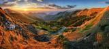 Fototapety Panorama mountain with sun, Vratna valley, Slovakia