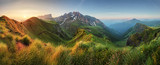 Fototapety Mountain sunrise panorama in Dolomites, Passo Giau