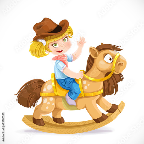 Poster Pony Cute little girl sits on the toy rocking horse