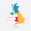 UNITED KINGDOM MAP, UK MAP with borders in different color