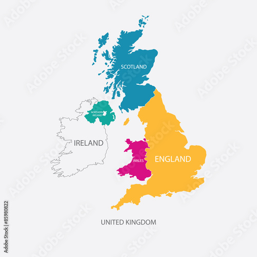Plakát, Obraz UNITED KINGDOM MAP, UK MAP with borders in different color