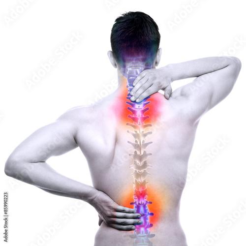 Kręgosłupa ból - mężczyzna boli kręgosłup na białym tle - prawdziwa anatomia