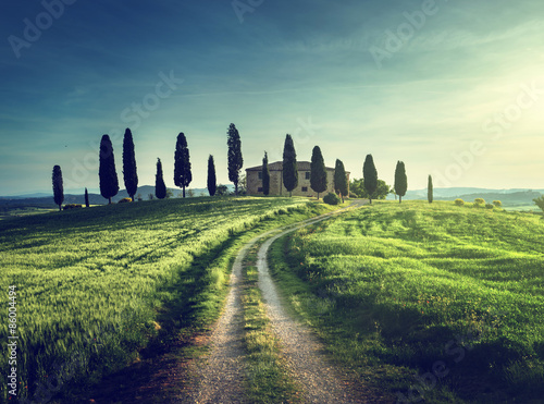 Fototapeta Classic Tuscan views in spring sunset time, Pienza, Italy