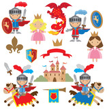Knight, princess and dragon vector illustration
