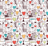 Сats with hearts seamless pattern - 86020820