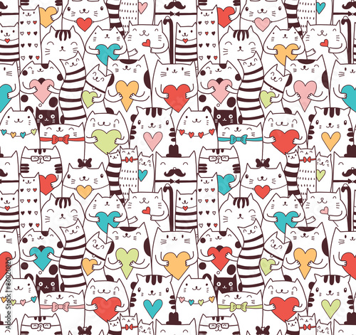 Fototapeta Сats with hearts seamless pattern