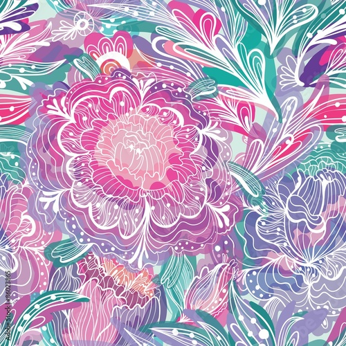 Cotton fabric Vector Pattern with Magic Light Flowers