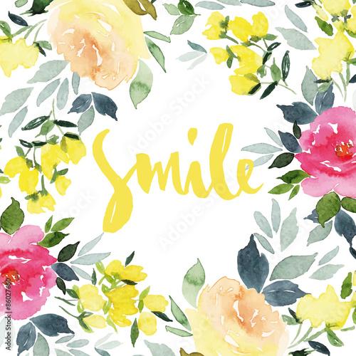 Greeting card flowers. Watercolor. - 86027680