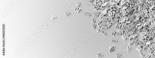 Infinite letters background, original 3d illustration.