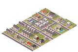 Fototapety Vector isometric suburb map
