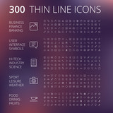 Fototapety Thin Line Icons For Business, Technology and Leisure
