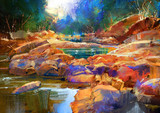 Fototapety beautiful fall river lines with colorful stones in autumn forest,digital painting