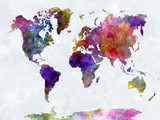 World map in watercolorpurple and blue - 86056055