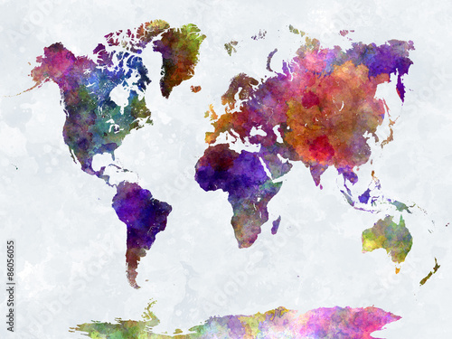 Poster World map in watercolorpurple and blue