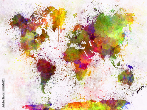 Poszter World map in watercolor