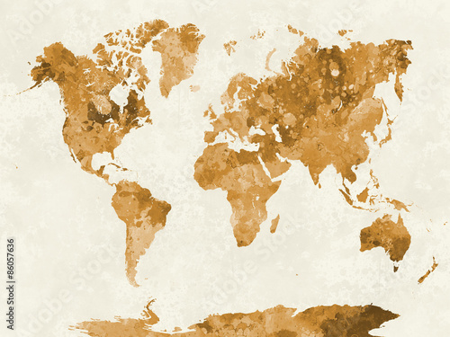 Poster World map in watercolor orange