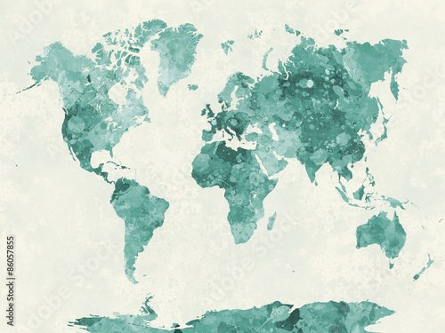 Poster World map in watercolor green