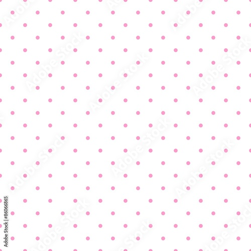 Tile vector pattern with pink polka dots on white background - 86066865