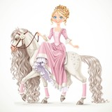 Cute princess on a white horse with a long mane isolated on a wh
