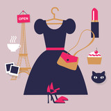 Paris fashion concept image. Flat vector french icons - 86084632