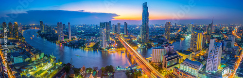 Staande foto Bangkok Landscape of river in Bangkok cityscape in night time