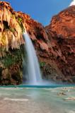 Fototapety Havasu Falls at sunset, waterfalls in the Grand Canyon, Arizona