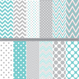 Fototapety Polka Dot and Chevron seamless pattern set