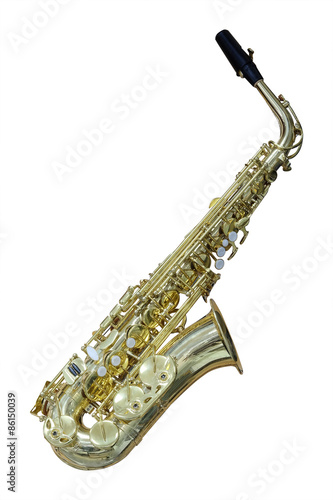The image of a saxophone isolated under a white background - 86150039