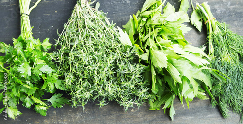 Herbs.Parsley,Thyme,Dill and Lovage Cooking Herbs
