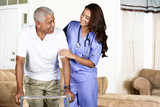 Health Care Worker and Elderly Man