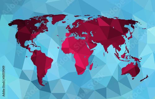 World map background in polygonal style