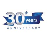 Fototapety 30 Years Anniversary Logo Blue Ribbon