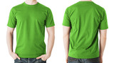 man in blank green t-shirt, front and back view
