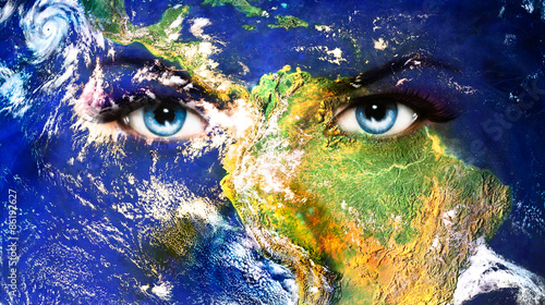 Nowoczesny obraz na płótnie Planet Earth and blue human eye with violet and pink day makeup.