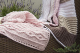 Crochet, Cable Knit Baby Blankets on Sofa with Lavender, Closeup High Contrast - 86193684