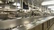 Stainless Steel Equipment in Empty Kitchen