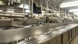 Stainless Steel Equipment in Empty Kitchen