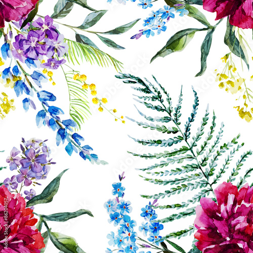Watercolor floral pattern - 86204057