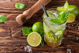 Fototapety Mojito drink on wooden planks