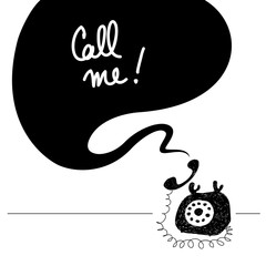 Call me retro vintage phone, hand drawn doodle, sketch