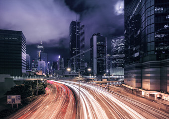 Prosperous Hong Kong city night  scenes
