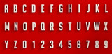 White letters and numbers on red background - 86249445