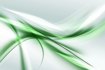 Beautiful Green White Light Abstract Waves Background