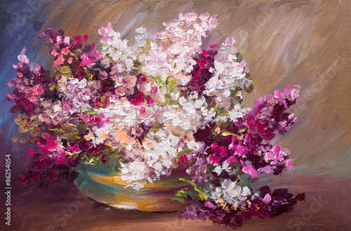 Plakat oil painting - bouquet of lilac, colorful still life